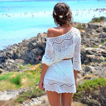 Feitong Большой размер XL винтаж женщин сексуальное выдалбливают белое кружево платье пляж ну вечеринку мини платья с поясом бесплатная доставка