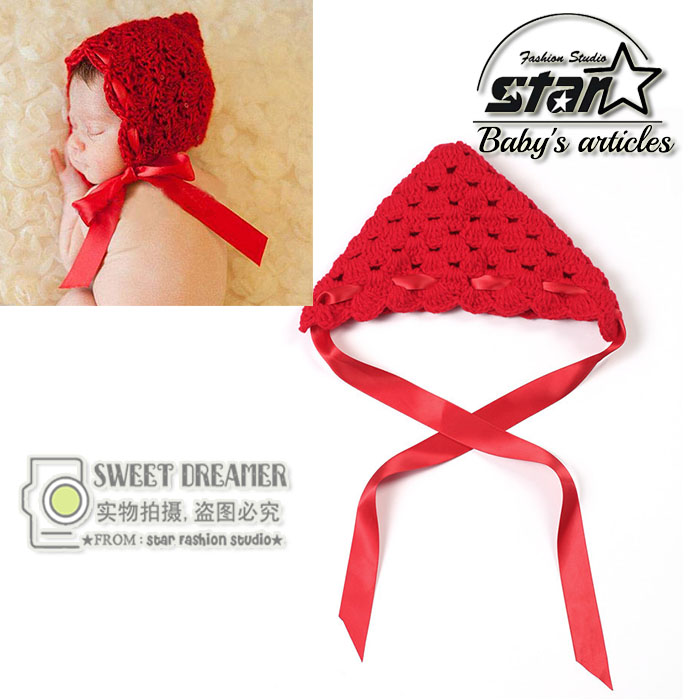 Baby Girls Red Riding Hood Infant Red Color Kawaii Hat Newborn Knitted Crochet Girl Hats Birthday Accessories Lace Caps(China (Mainland))