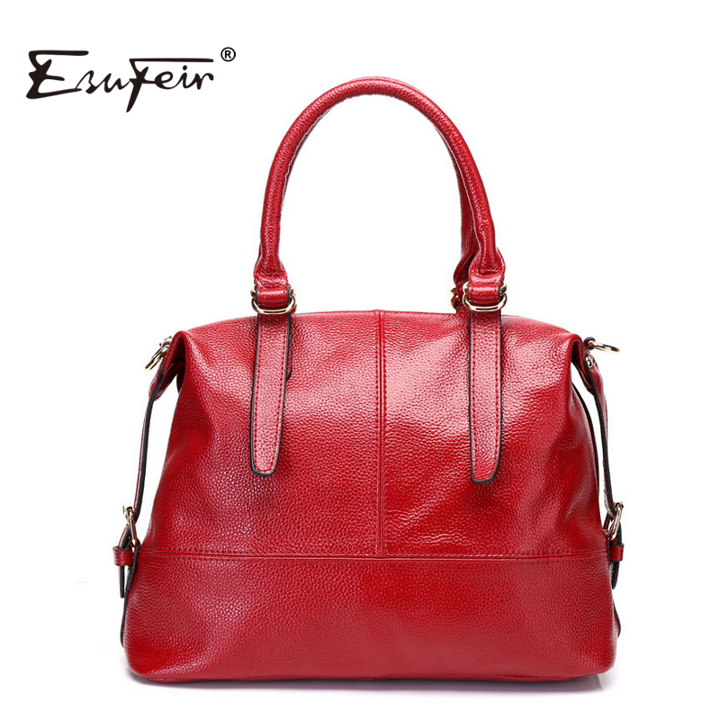 ESUFEIR 2016 Fashion Genuine Leather Boston Women Handbag Solid Cowhide Zipper Classic Women Shoulder Bag Casual Ladies Bag KJ66<br><br>Aliexpress