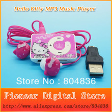 Hot Sell 5pcs/lot Hello Kitty Christmas Gift MP3 Music Player Support Micro TF Card With Kitty Earphone&Mini USB Free Shipping