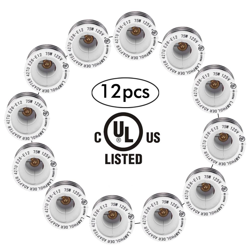 NEW UL Certificate 12 Packs E26 to E12 Lamp Holder Base Adapter Converter Medium Screw to Candelabra Screw Socket(China (Mainland))