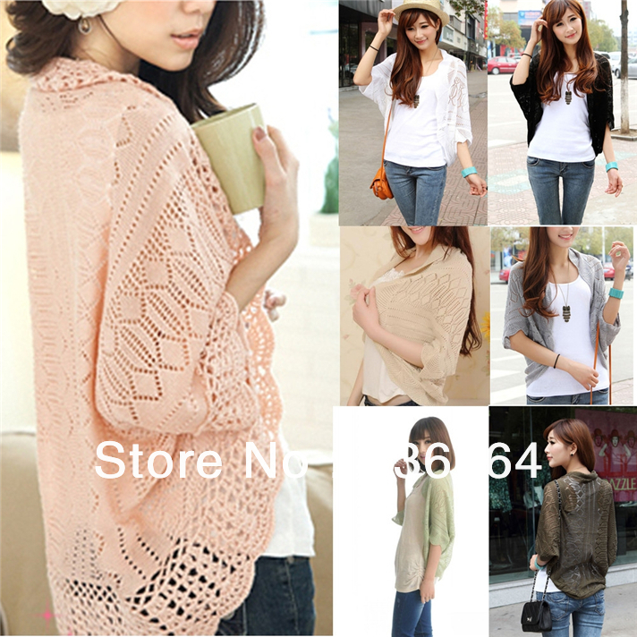 New Womens Ladies Hollowed Dolman Sleeve Knitted Crochet Shirt Top Coat Cardigan Freeshipping