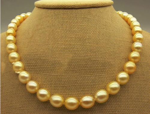 Charming AAA SOUTH SEA 10-11MM GOLD PEARL NECKLACE 14K(China (Mainland))