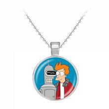 Hot moda Futurama brelok do kluczy urok biżuteria punkowa naszyjniki wisiorek dla mężczyzn kreatywny prezent szyi łańcuchy wisiorek prezenty dla dzieci(China)
