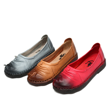 Buy women 2017 spring autumn genuine leather flat low heel slip handmade shoes casual espadrilles moccasins loafers mingzu A906 for $44.80 in AliExpress store