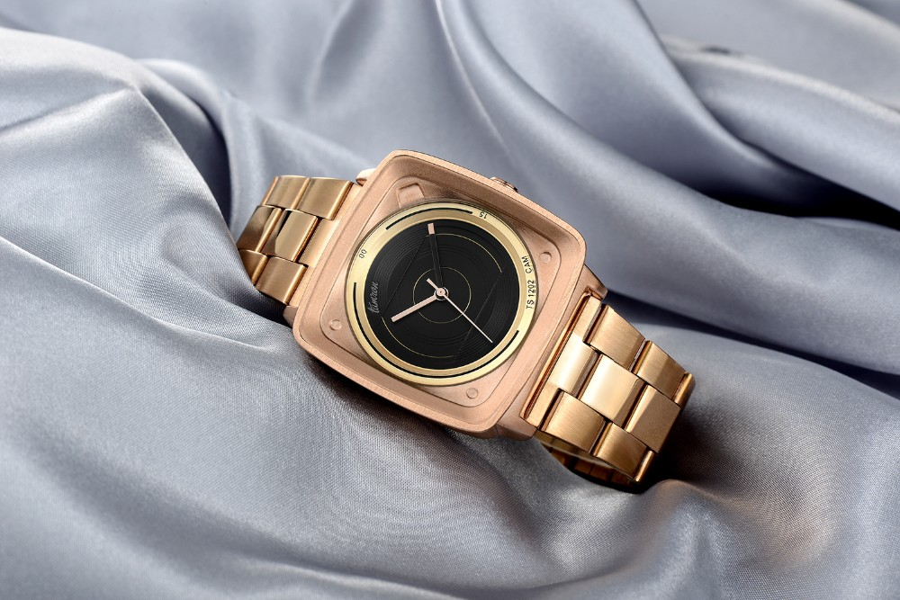 2016 простые движения японии мода розовое золото цвет нержавеющая сталь ремешок женщины уникальная площадь доля темперамент женщин смотреть
