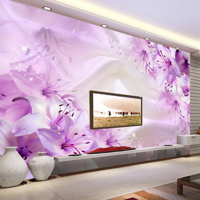 Custom 3d photo wallpaper simple modern lily flower tv for Mural 3d simple