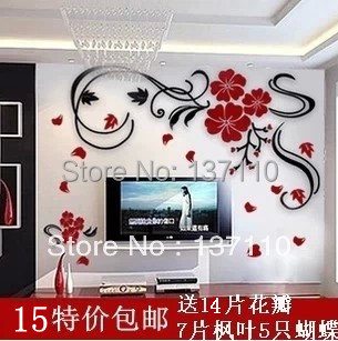 Flower vine the elapsing tv wall rich crystal three-dimensional wall stickers acrylic wall sofa wall stickers(China (Mainland))