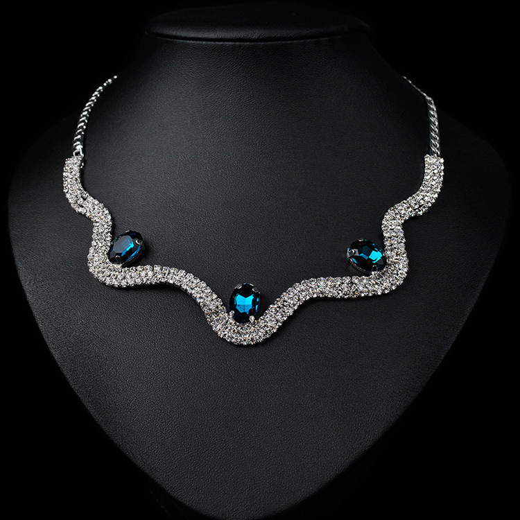 2015 wave short crystal necklace sapphire jewelry women for Costume jewelry for evening gowns