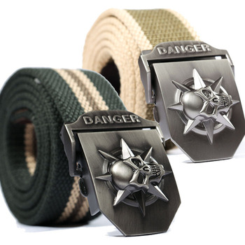 Fashion men's Canvas belt skull Metal tactics woven belt canvas belt Casual pants Cool wild gift for men belts Skull large size