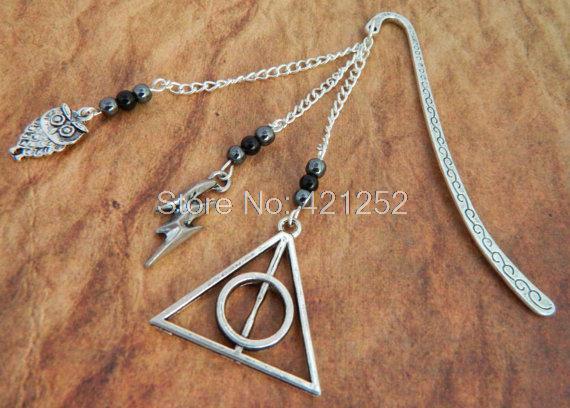 12pcs Harry Potter Bookmark Deathly Hallows Charm, Owl Charm, lighting charm Bookmark Geeky Gift, Hogwarts(China (Mainland))