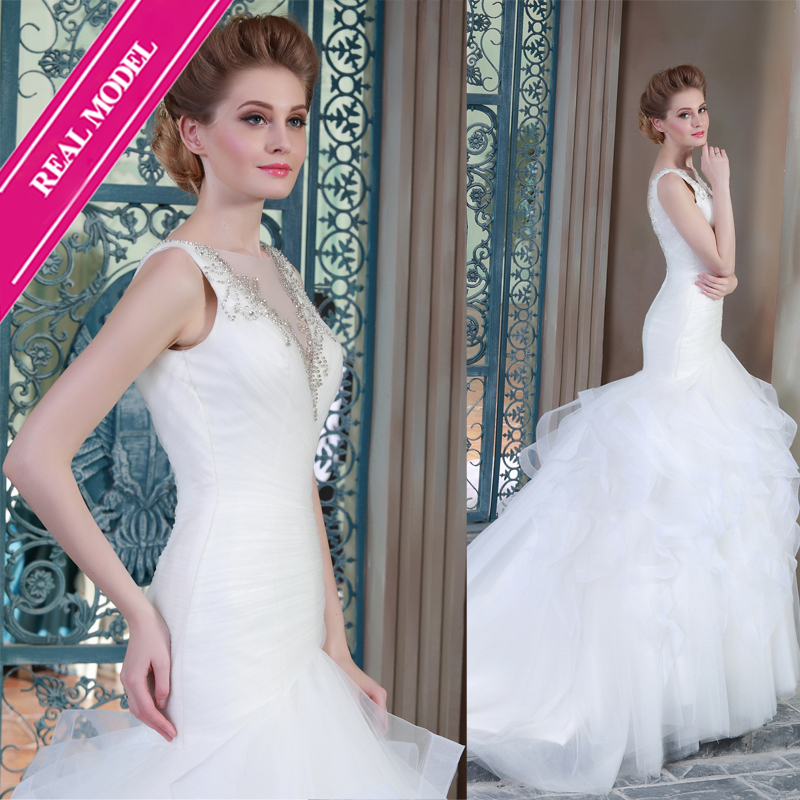 Mermaid Wedding Dresses See Thought V Neck Organza Tiered Wedding Gown Real Models(China (Mainland))