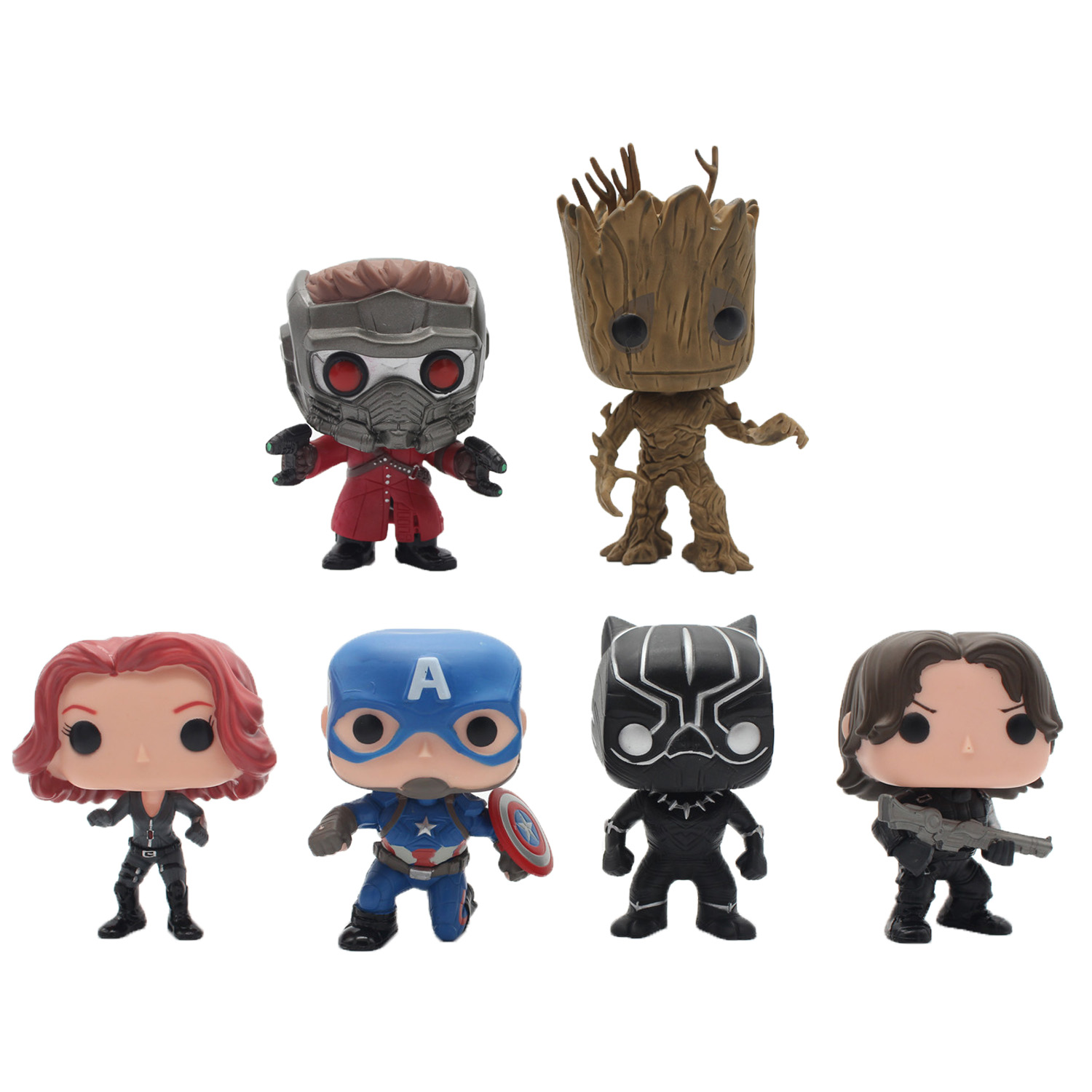 Chanycore Funko pop Groot Guardians of the Galaxy Avengers Captain America Black Widow Panther Winter Soldier Vinyl figure toy(China (Mainland))