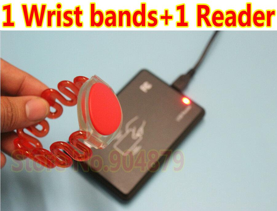 1 Lot(5pcs) of Sauna Wrist bands red Color 125khz Rfid access control card RFID handwristwatch+ 1 pcs USB RFID Card Smart Reader(China (Mainland))