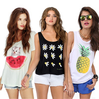 Free shipping 2015 summer fashion dress sexy joker round collar printed pineapple flash vest top