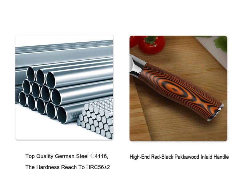 "Buy 7"" Santoku Knife German Steel 1.4116 Pakkawood Handle Stainless Steel Kitchen Sharp Chef Blade Cutting Slicing Meat Vegetable cheap"