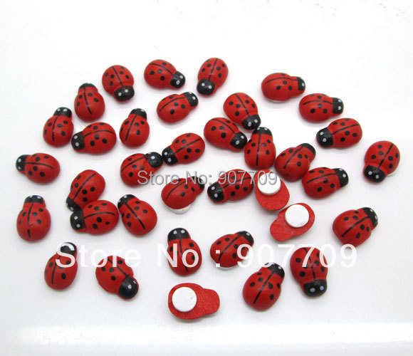Fashion trendy 200Pcs Painted Ladybug Self-Adhesive Wood Craft Scrapbooking Decoration 9x13mm(China (Mainland))