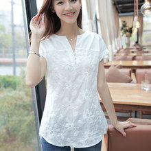 blouse shirt New Women Blouses Short Sleeve Summerem Embroidery Floral V-Neck Cotton Linen Fashion Ladies Tops Shirt Clothing(China (Mainland))