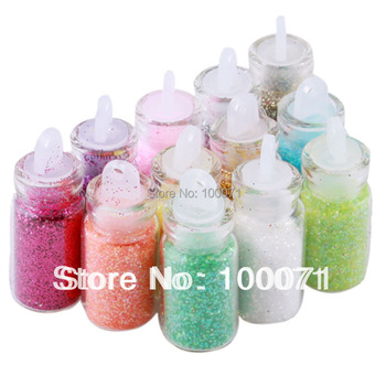 1Set, 12 Color Nail Glitter Powder Decor Nail Art Powder Dust Bottle Set #5696