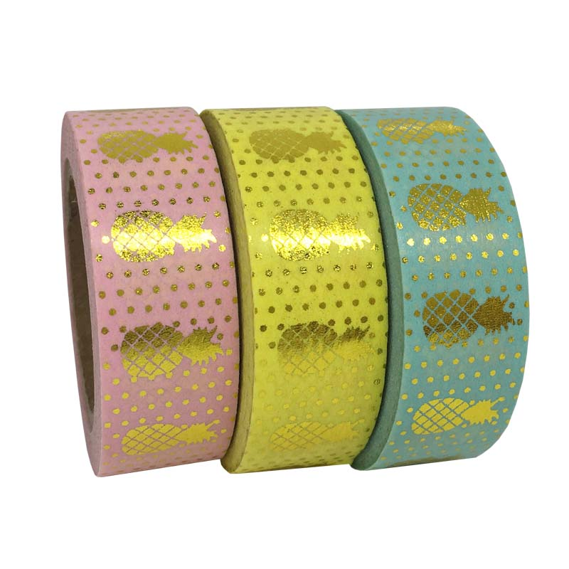 Pineapple Foil Washi Paper Tape Gift Packing Kawaii For Photo Album 10M*1.5CM Adhensive Tape Paper Crafts School Supplies(China (Mainland))