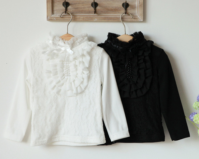 2013 spring autumn new designer Girls lace pearl long sleeve T-shirt baby cotton top fashion sweet wholesale freeshipping