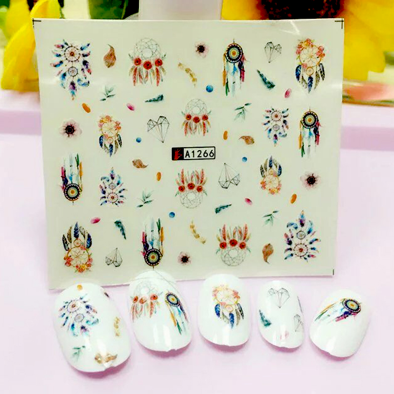 1 Sheet Watermark Feather Stickers Nail Art Water Transfer Tips Decals Beauty Temporary Tattoos Tools A1266(China (Mainland))