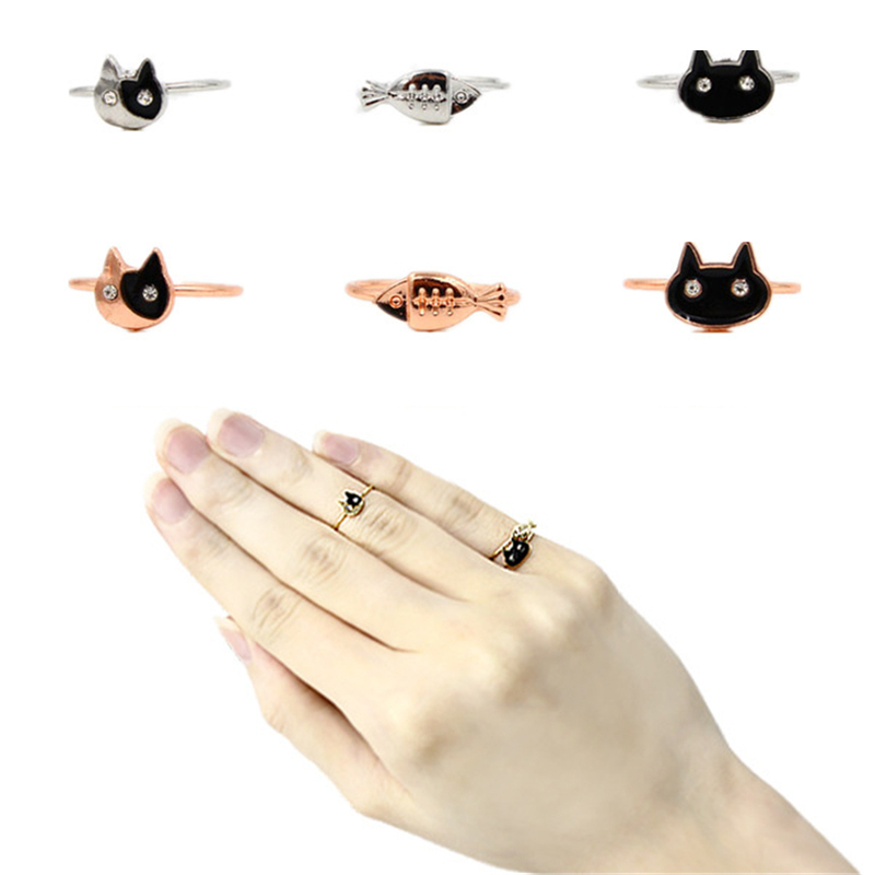 Novelty Animal Ring Set 3Pcs/set Enamel Double Cat Ring Cute Crystal Fish Finger Ring Knuckle Rings For Women SJZ120(China (Mainland))