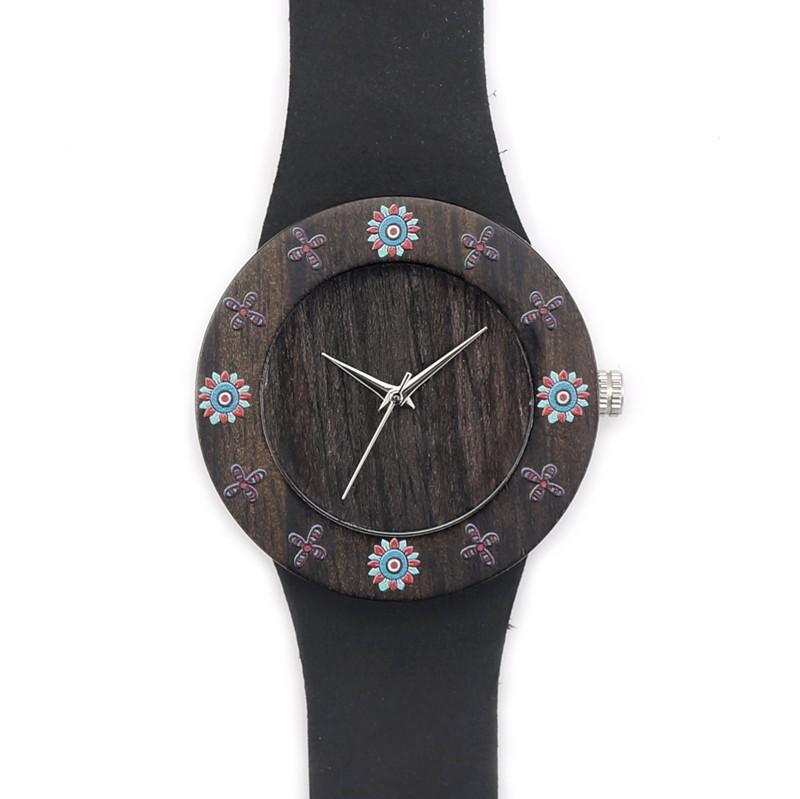 BOBOBIRD D25 Черное Дерево Черное Дерево Женщины Одеваются Часы С Печатью цветы Для Женщин Смотреть С Anolog Кварцевые Часы С Git коробка