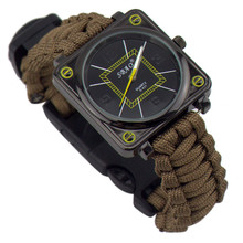 6in1 Unique Nesign Watches Umbrella Rope Bracelet Watch With Compass Flint Fire Multifunctional Watch(China (Mainland))