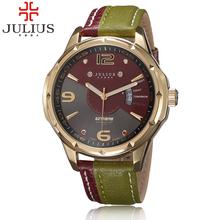 Luxury Brand Julius Fashion watch Men's Quartz Watch military Date Leather sport Army Watches Men Wristwatches relogio masculino