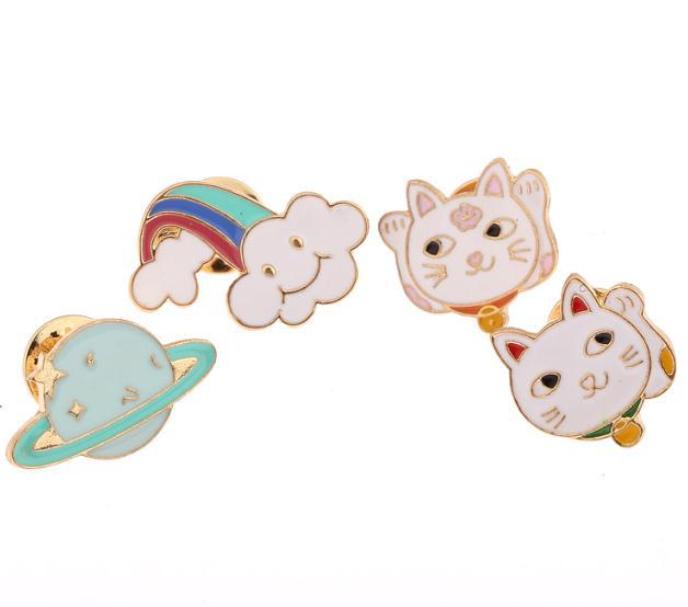 Wholesales Chic Enamel Fortune Cat Rainbow Brooch Pins Brosche Hiphop broche for costume hat diy accessories hot sales pop 0532<br><br>Aliexpress