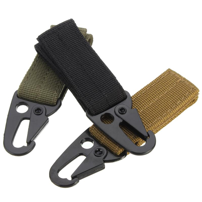 Excellent quality Military Tactical Nylon Belt Metal Hanging Carabiner Backpack Hook Key chain Clasp for Outdoor <font><b>Camping</b></font> Hiking