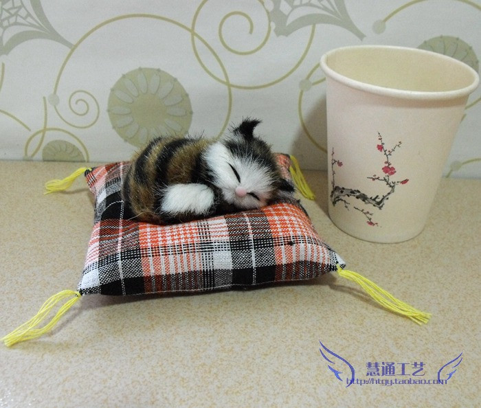 Free Shipping~Cat plush toy decoration doll pet props child gift props mini 8cm~ dollhouse miniatures animal(China (Mainland))