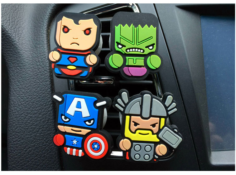 Free shipping Car-Styling New Design The Avengers car perfume Cartoon perfume Air Freshener For Car Accessories(China (Mainland))