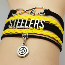 Infinity Love National Football League Pittsburgh Steelers American State Name Plate NCAA Football Team Bracelet for Sports Fans(China (Mainland))