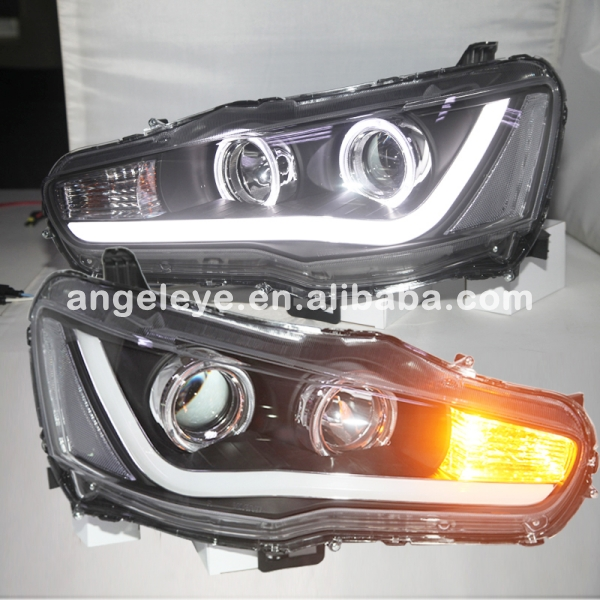 For Mitsubishi For Lancer Exceed LED Head Lamp Angel Eye Front Light 2008-2013 Year YZ