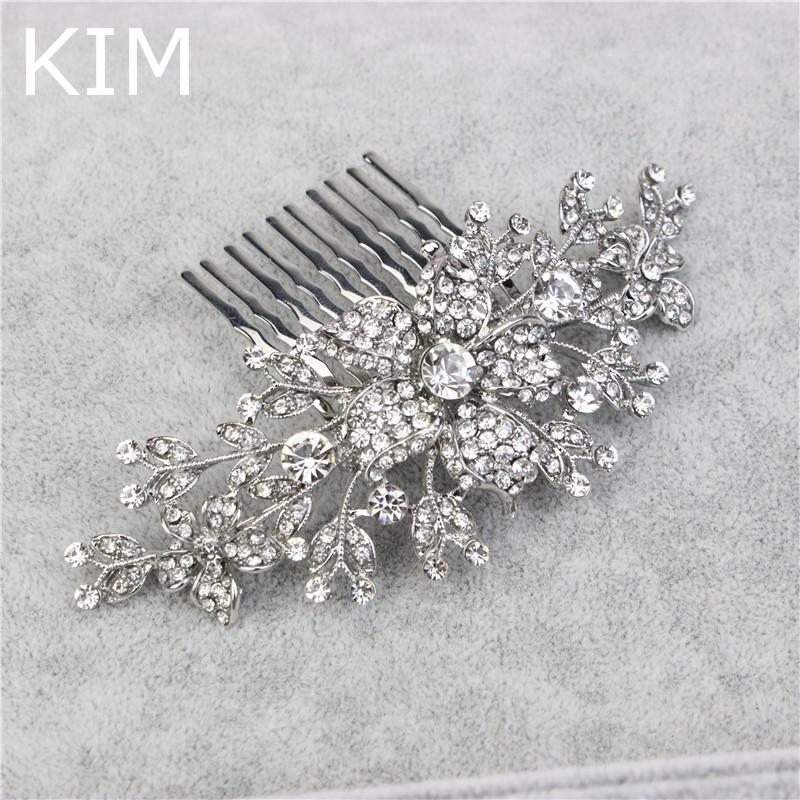 European Design Crystal Bridal Hair Comb Wedding Accesories hair accessories Bride Floral Head Pieces hair jewelry YLQC-001(China (Mainland))