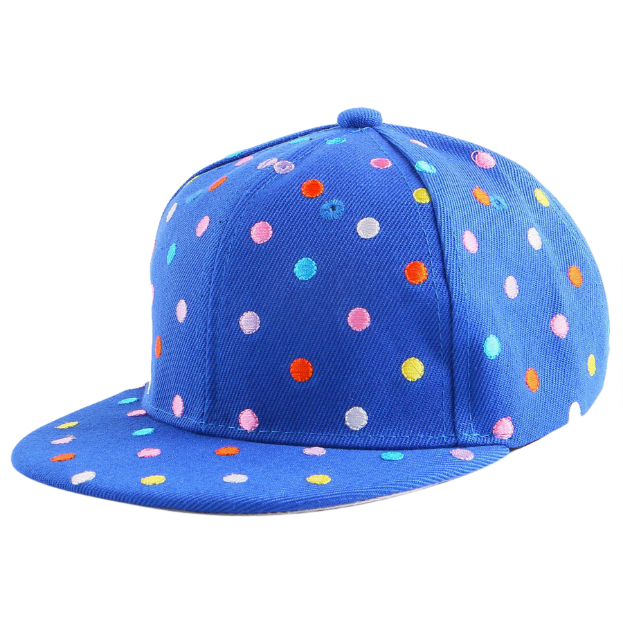 2016 new trendy whole embroidery dot design colorful simple outdoor baseball cap for children boy girl hip hop snapback hat(China (Mainland))