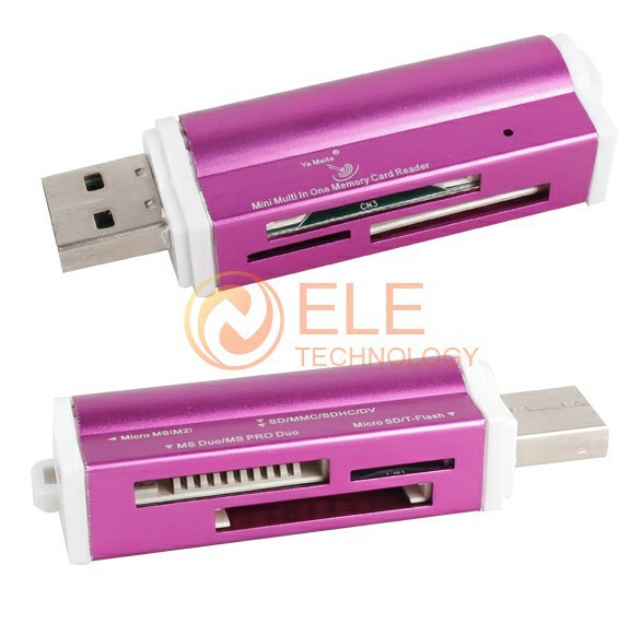 All In 1 High Speed USB 2.0 Card Reader for for Micro SD/TF M2 MMC SDHC MS Duo 1PC/Lot Fast Shippment(China (Mainland))
