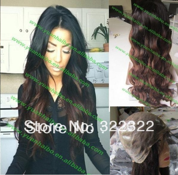 fashion hot selling 6a 1bT4# two tone ombre brazilian loose wave virgin remy hair full thin skin pu wig free shipping(China (Mainland))