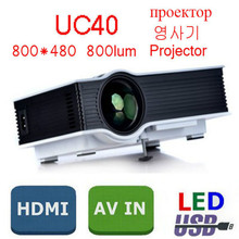 UC40 Mini Portable LED USB Projector 800Lumens with HDMI Port for Home Theater Cinema Beamer Multimedia Proyector EU Plug(China (Mainland))
