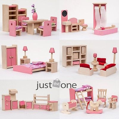 Chic cute pink wooden furniture miniature development diy - Sofas para ninas ...