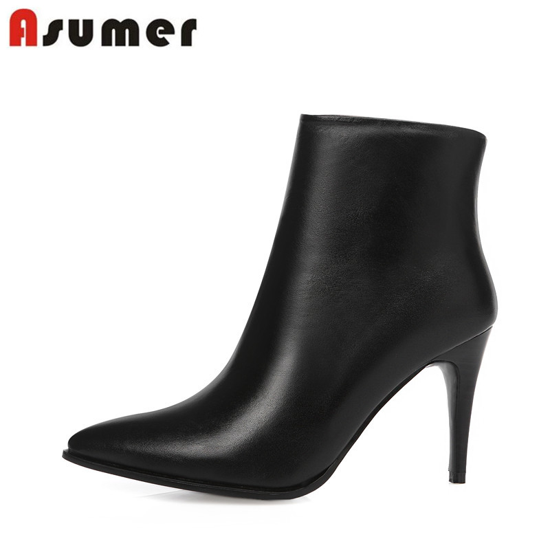 Фотография New sexy black ankle boots zipper pointed toe stiletto high heels women shoes fashion genuine leather autumn boots