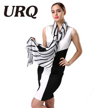 2016 Fashion Black White Ladies Scarves High Quality Silk Scarf Luxury Brand Design Bandana Accessories(China (Mainland))