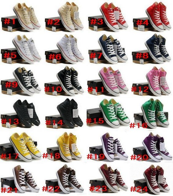 Tall and low style sneaker Men's/Women's canvas shoes 12 colors! Free shipping!