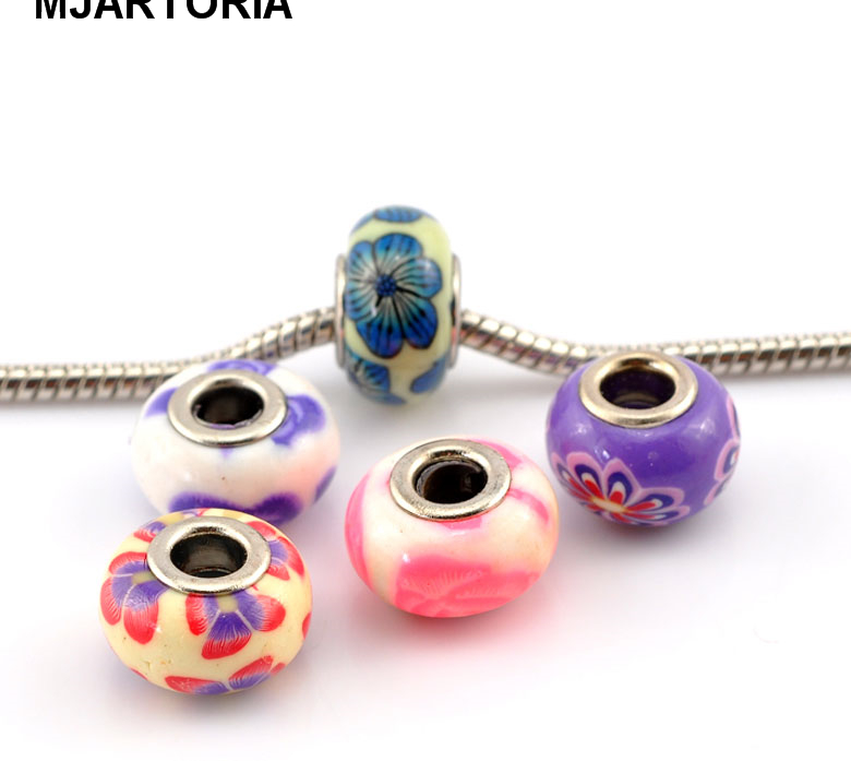 """MJARTORIA 30PCs Mixed Flower Pattern Polymer Clay European Charm Beads 15x9mm(5/8""""x3/8"""") Fine DIY Findings For Jewelry Making(China (Mainland))"""