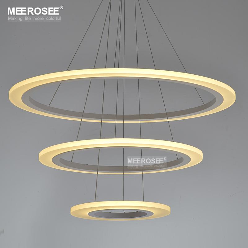 Wholesale White Acrylic LED Chandelier Light Fixture Modern LED Circle Hanging Lamp Lustre Aluminum LED Lamp for Living room(China (Mainland))