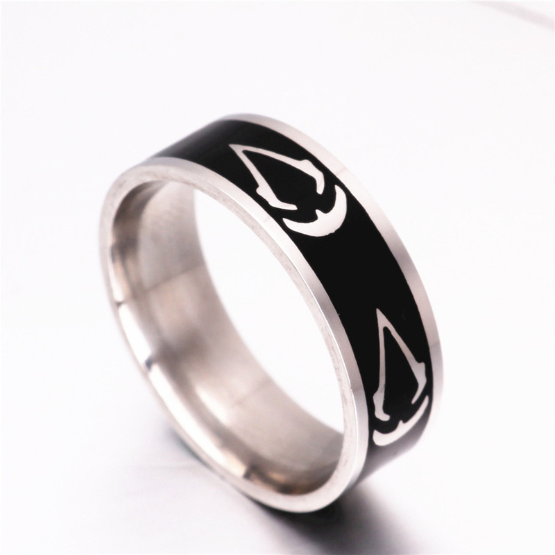 Titanium Steel Assassins Creed Ring Size 7~13 Assassins Creed Master Logo Symbol 8MM Titanium Steel Ring Rings Accessory(China (Mainland))