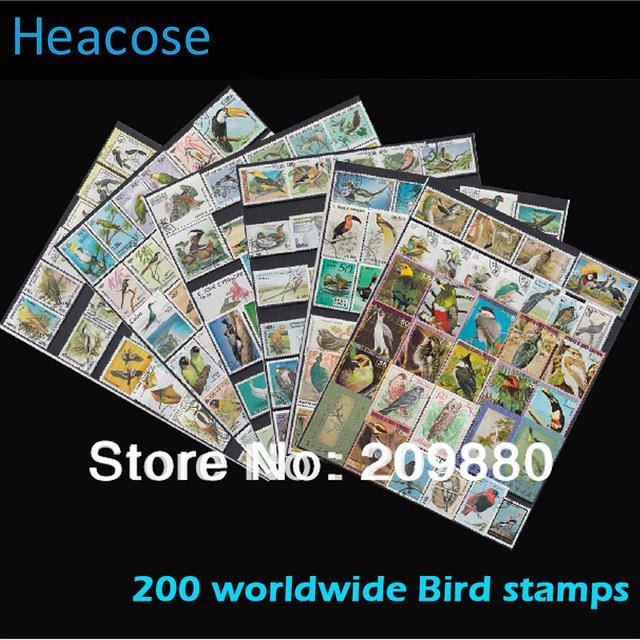 [ Бесплатная доставка ] нет повторите! 200 шт./упак., Птица почтовая марка с почтовым штемпелем, Коллекции марок для белый журавль, Павлин, Попугай