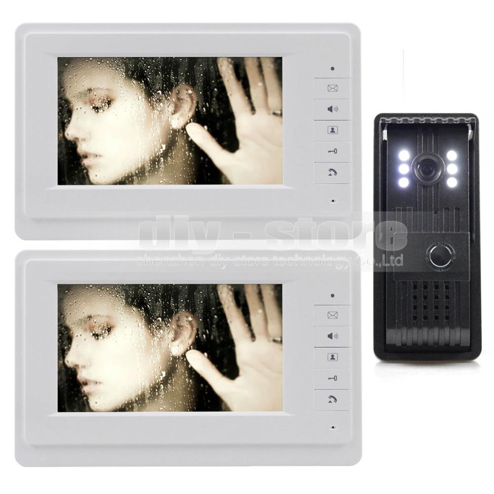 Aluminum Alloy CCD Camera 7 inch TFT Color LCD Display Video Door Phone Intercom Doorbell 1 Outdoor Camera 2 Indoor Monitor(China (Mainland))